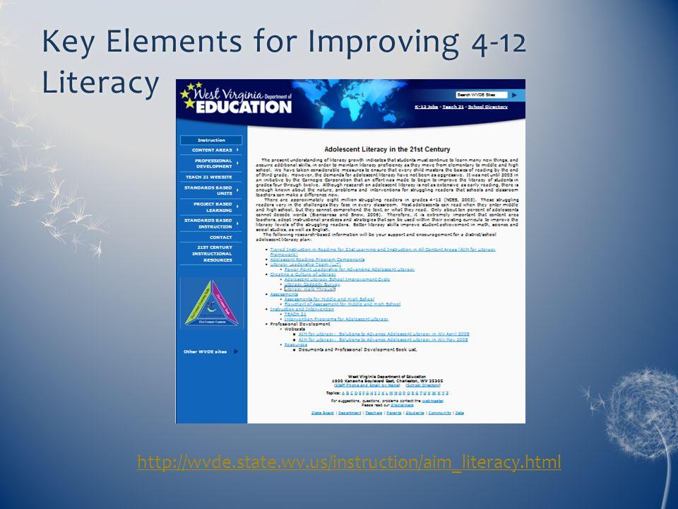 Key Elements for Improving 4-12 Literacy