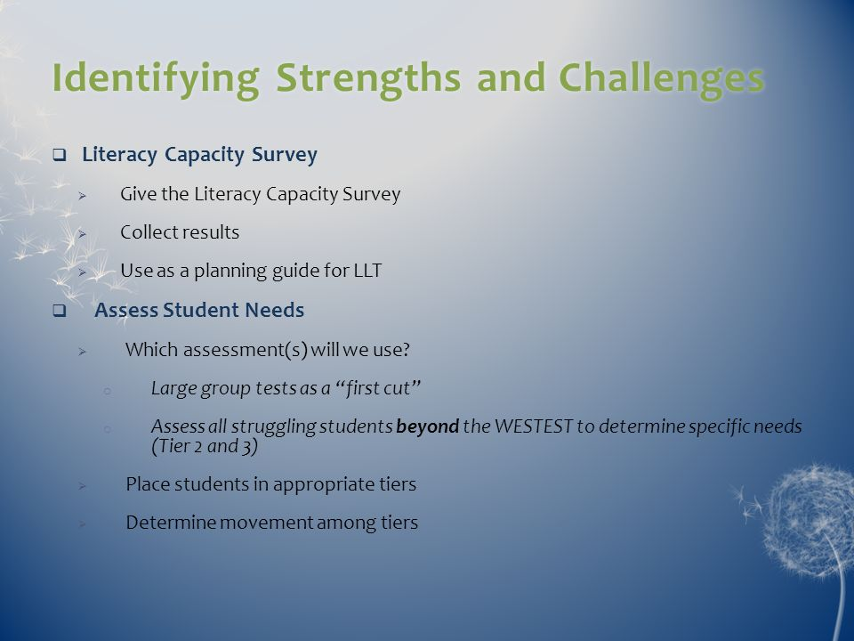 Identifying Strengths and Challenges