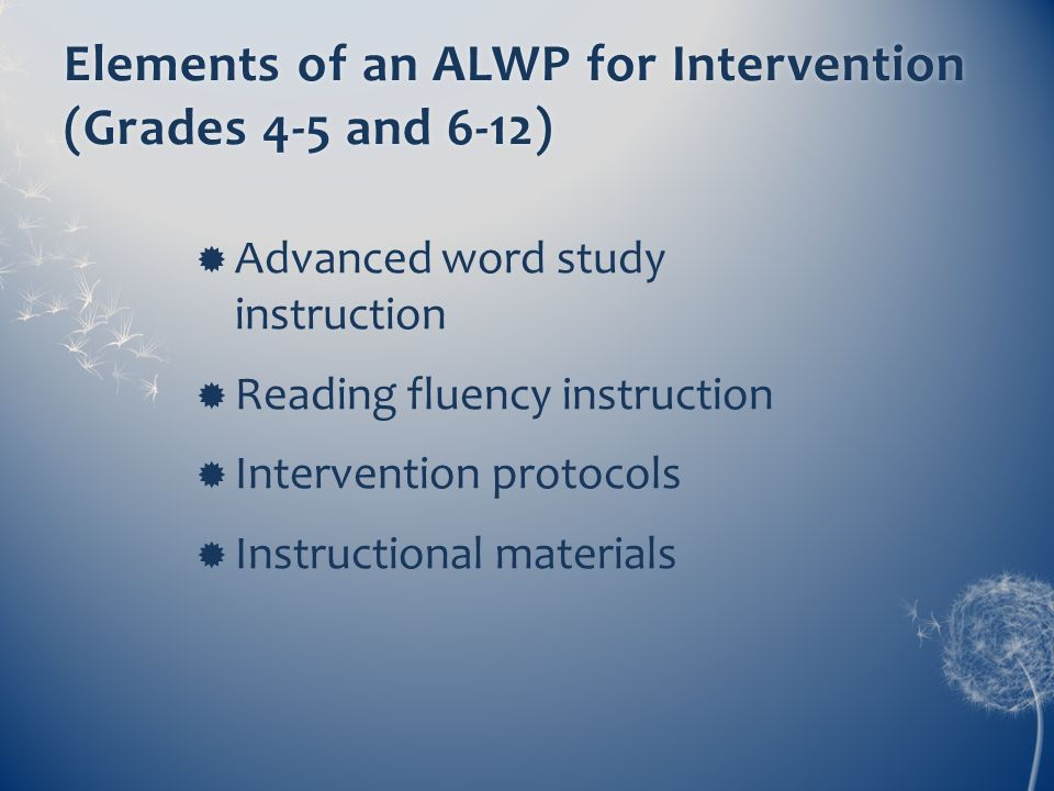 Elements of an ALWP for Intervention (Grades 4-5 and 6-12)