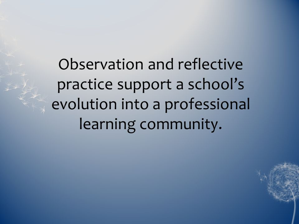 Observation and reflective practice support a school's evolution into a professional learning community.