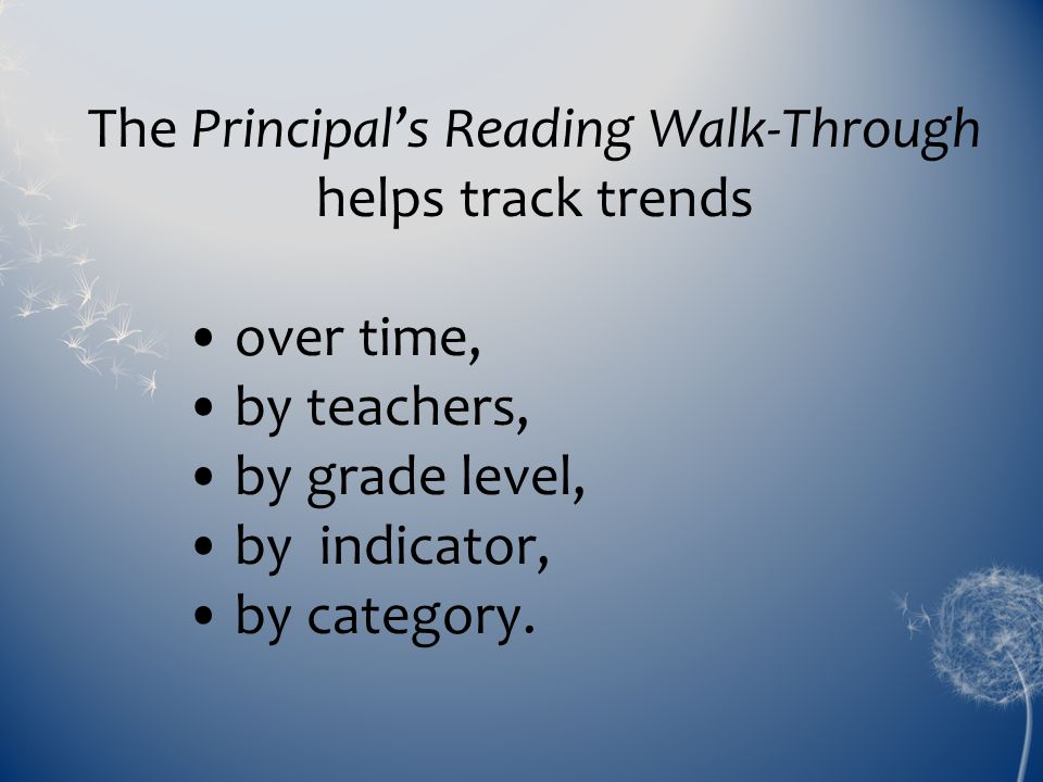 The Principal's Reading Walk-Through helps track trends