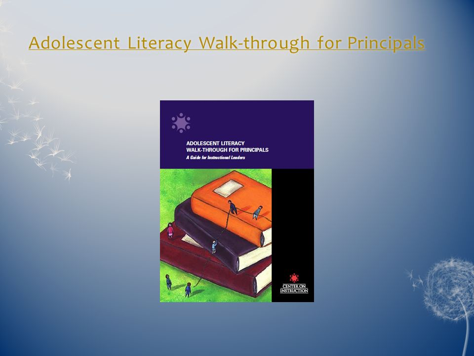 Adolescent Literacy Walk-through for Principals