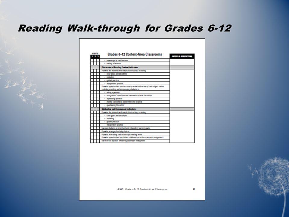 Reading Walk-through for Grades 6-12