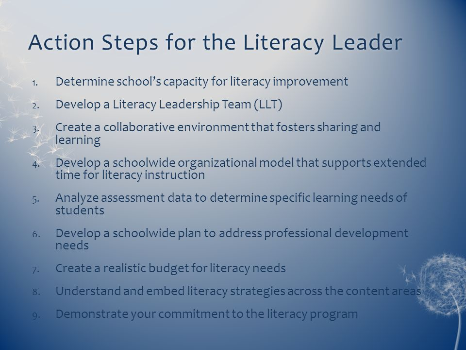 Action Steps for the Literacy Leader