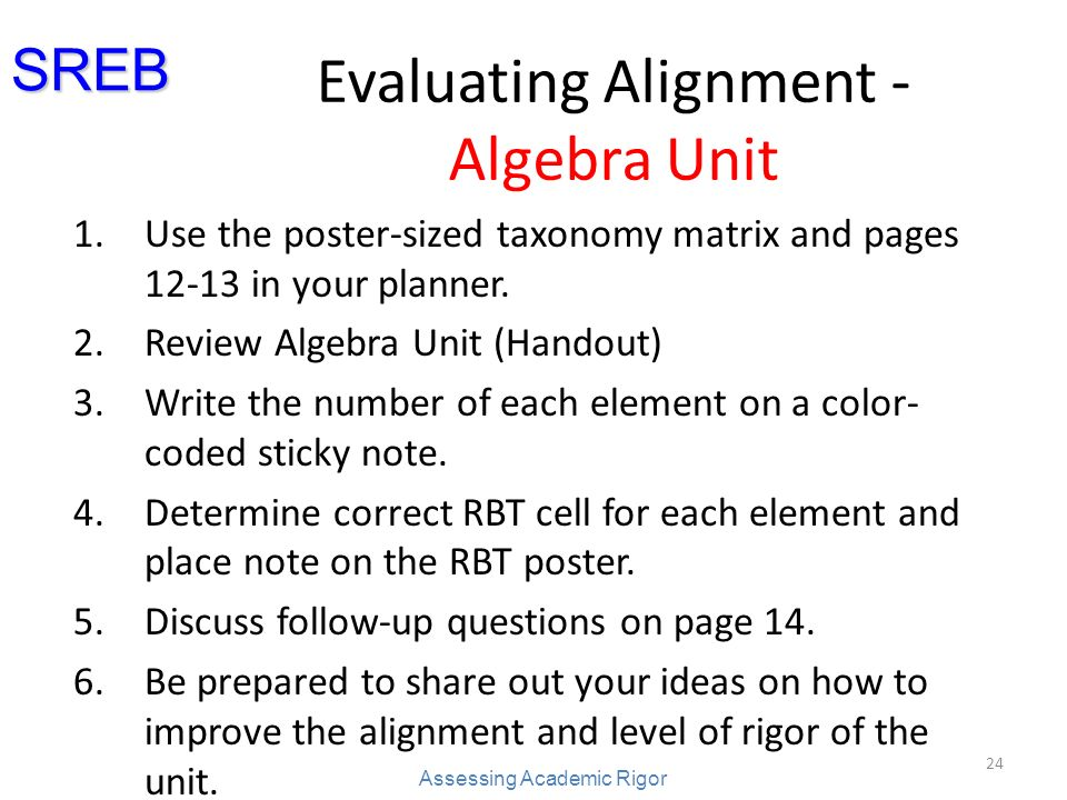 Evaluating Alignment - Algebra Unit