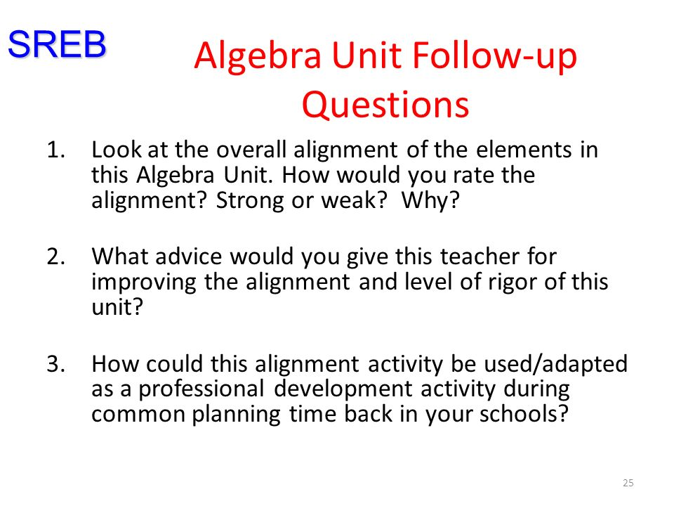 Algebra Unit Follow-up Questions