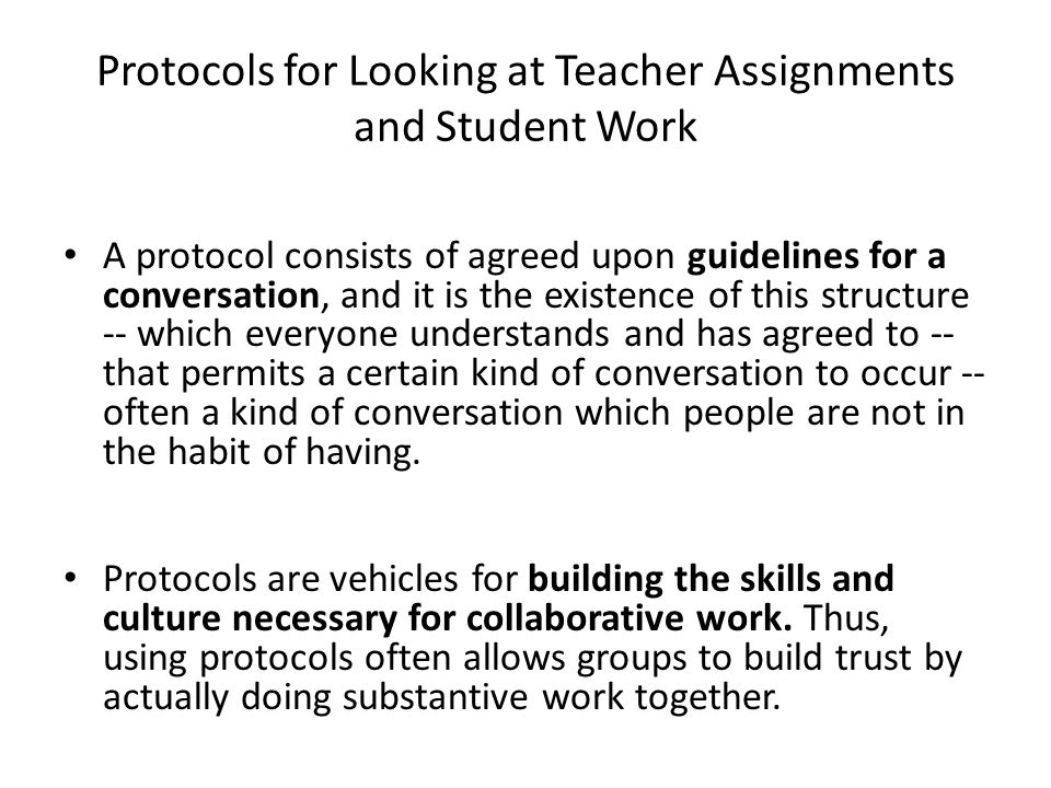 Protocols for Looking at Teacher Assignments and Student Work