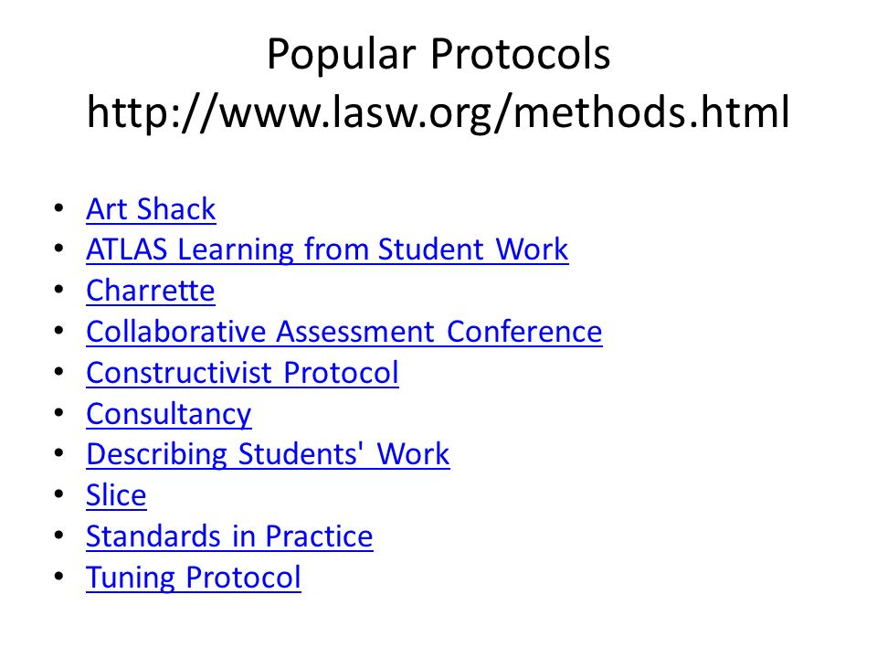 Popular Protocols http://www.lasw.org/methods.html