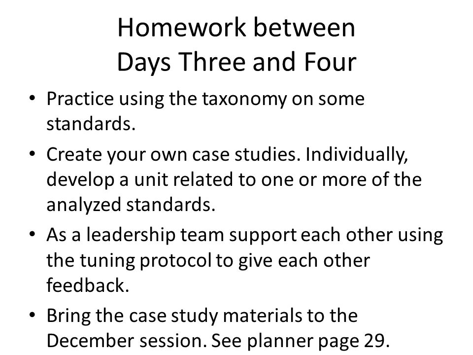 Homework between Days Three and Four