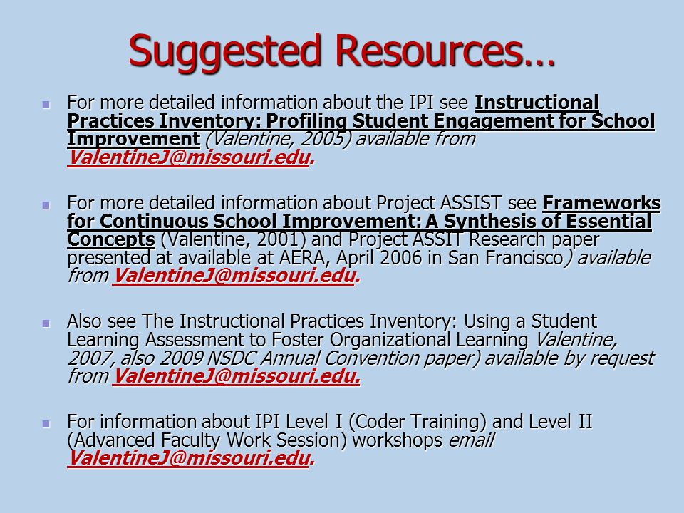 Suggested Resources…