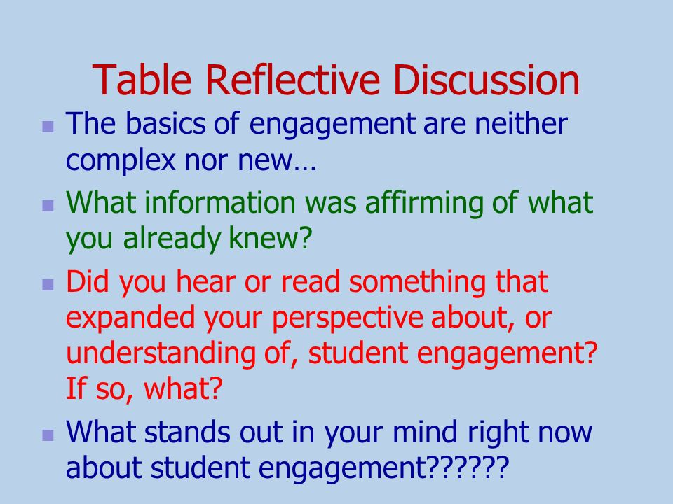 Table Reflective Discussion
