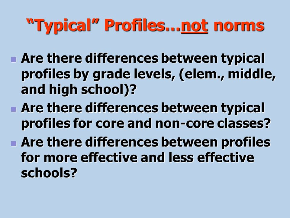 Typical Profiles…not norms