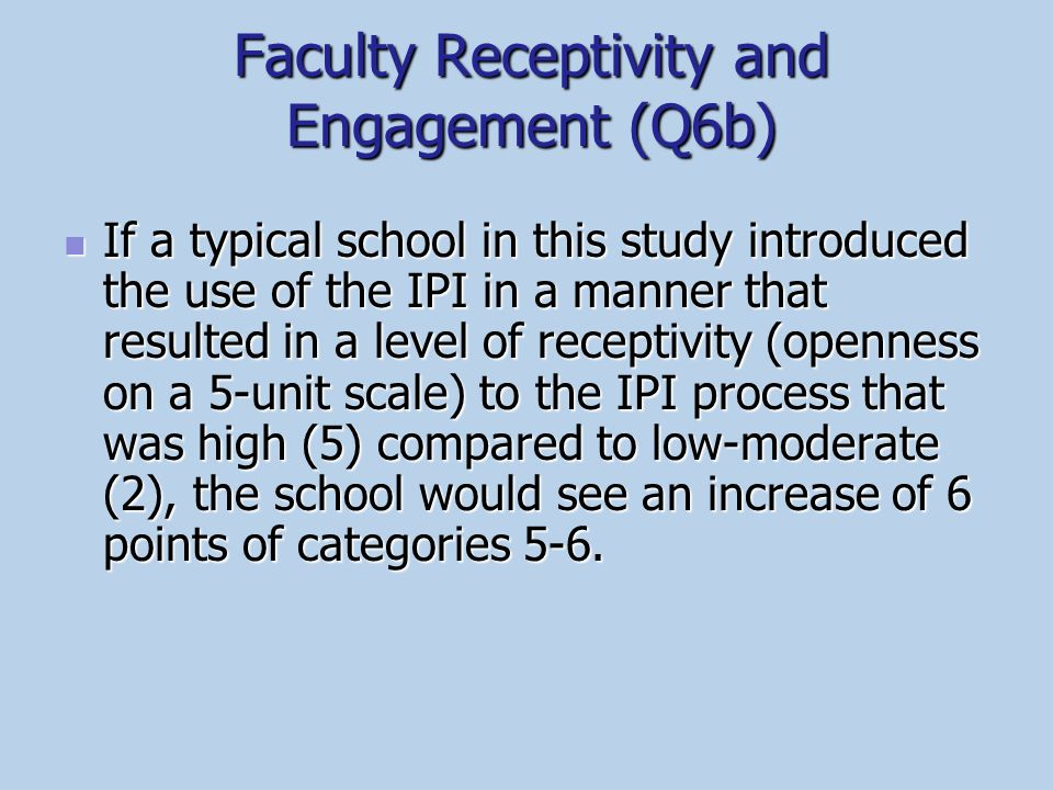 Faculty Receptivity and Engagement (Q6b)