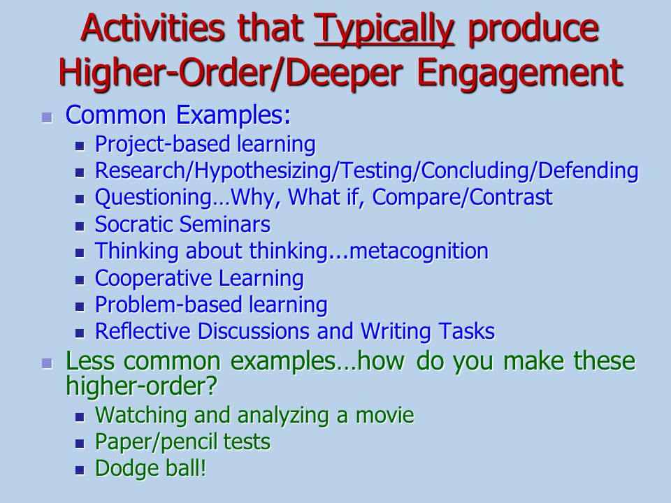 Activities that Typically produce Higher-Order/Deeper Engagement