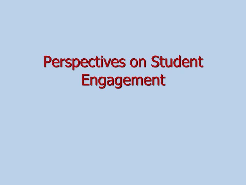 Perspectives on Student Engagement