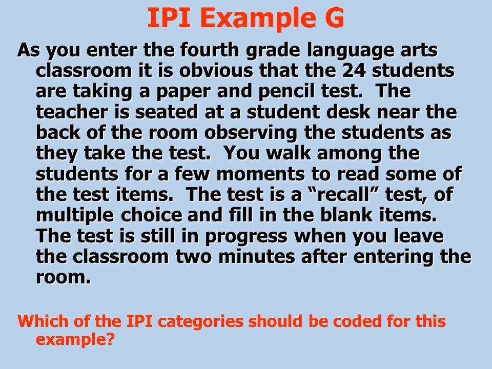 IPI Example G