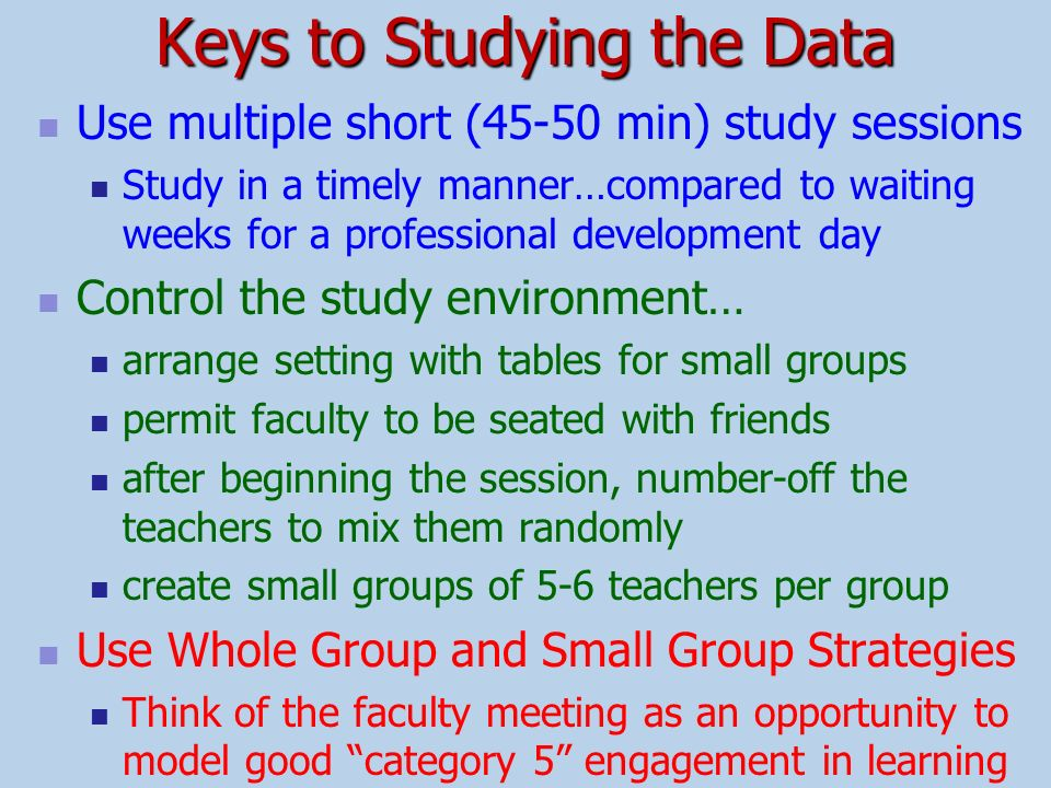 Keys to Studying the Data
