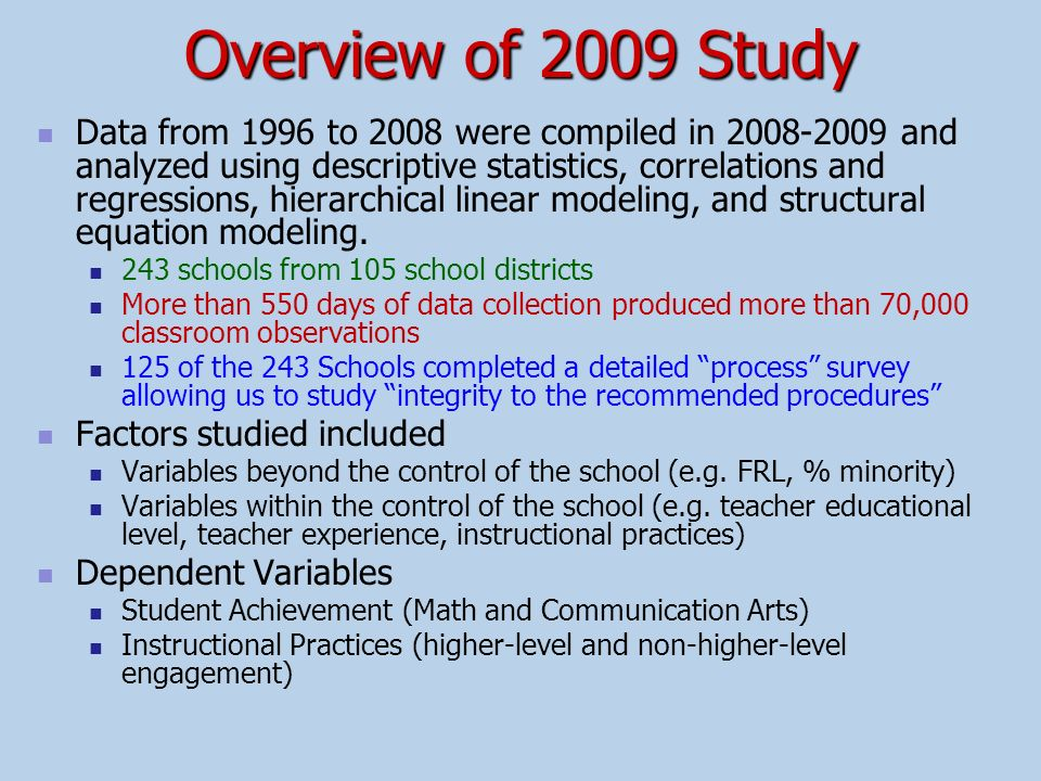 Overview of 2009 Study
