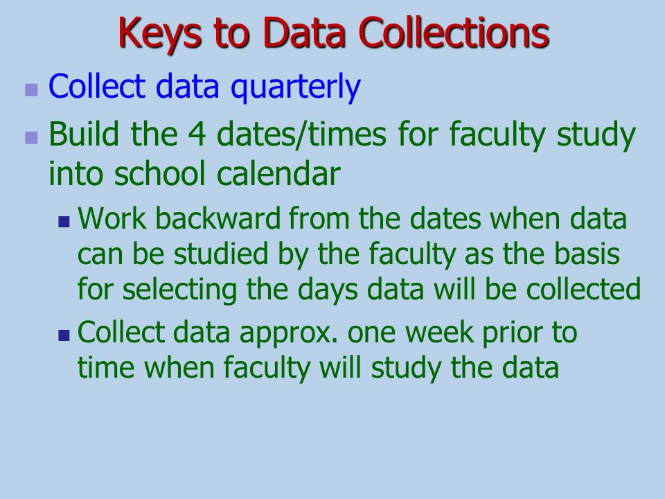 Keys to Data Collections