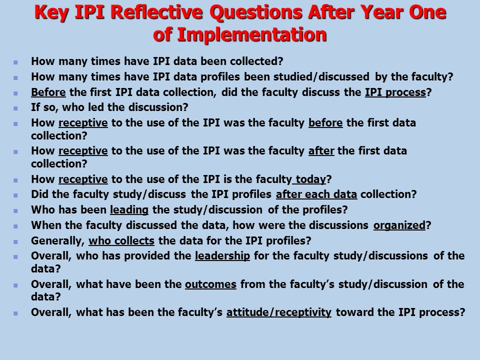 Key IPI Reflective Questions After Year One of Implementation
