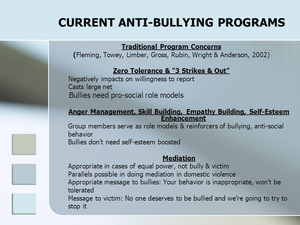 CURRENT ANTI-BULLYING PROGRAMS