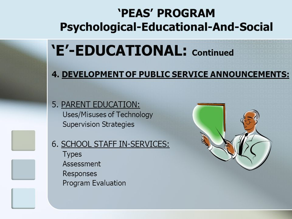 'PEAS' PROGRAM Psychological-Educational-And-Social