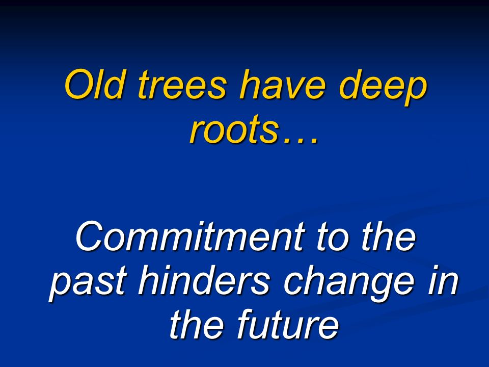 Old trees have deep roots…