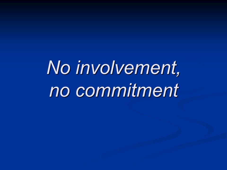 No involvement, no commitment