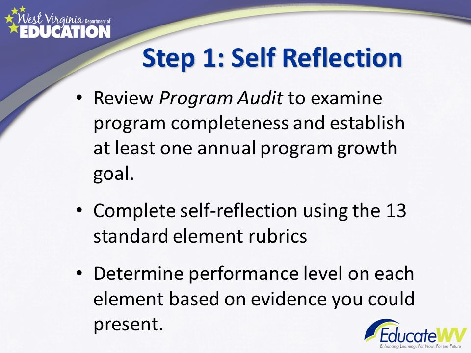 Step 1: Self Reflection Review Program Audit to examine program completeness and establish at least one annual program growth goal.