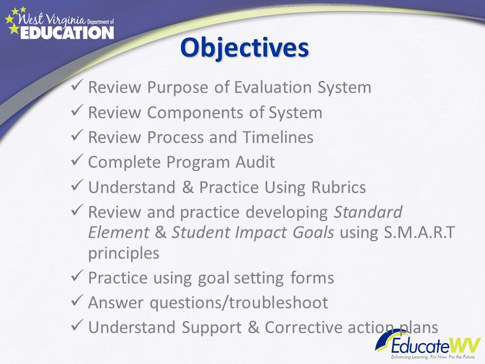 Objectives Review Purpose of Evaluation System