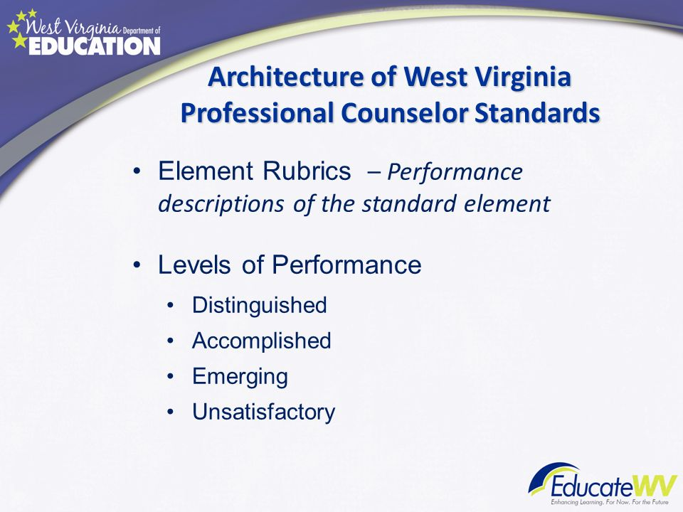 Architecture of West Virginia Professional Counselor Standards