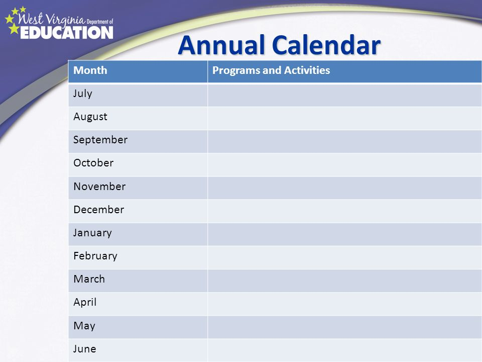 Annual Calendar Month Programs and Activities July August September