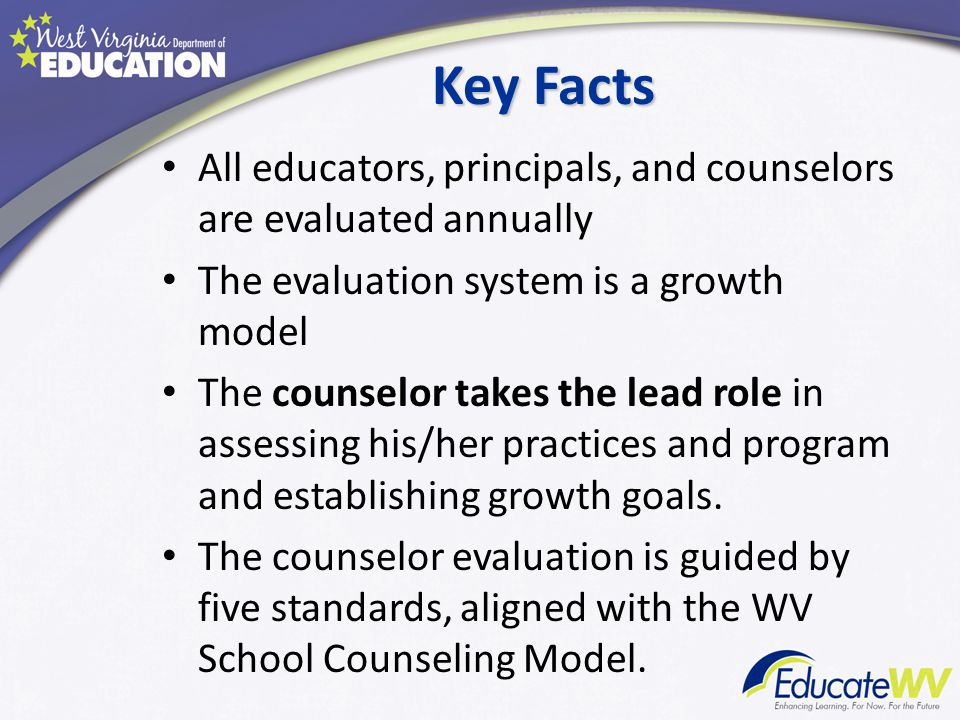 Key Facts All educators, principals, and counselors are evaluated annually. The evaluation system is a growth model.