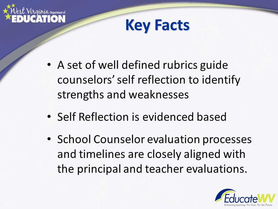 Key Facts A set of well defined rubrics guide counselors' self reflection to identify strengths and weaknesses.