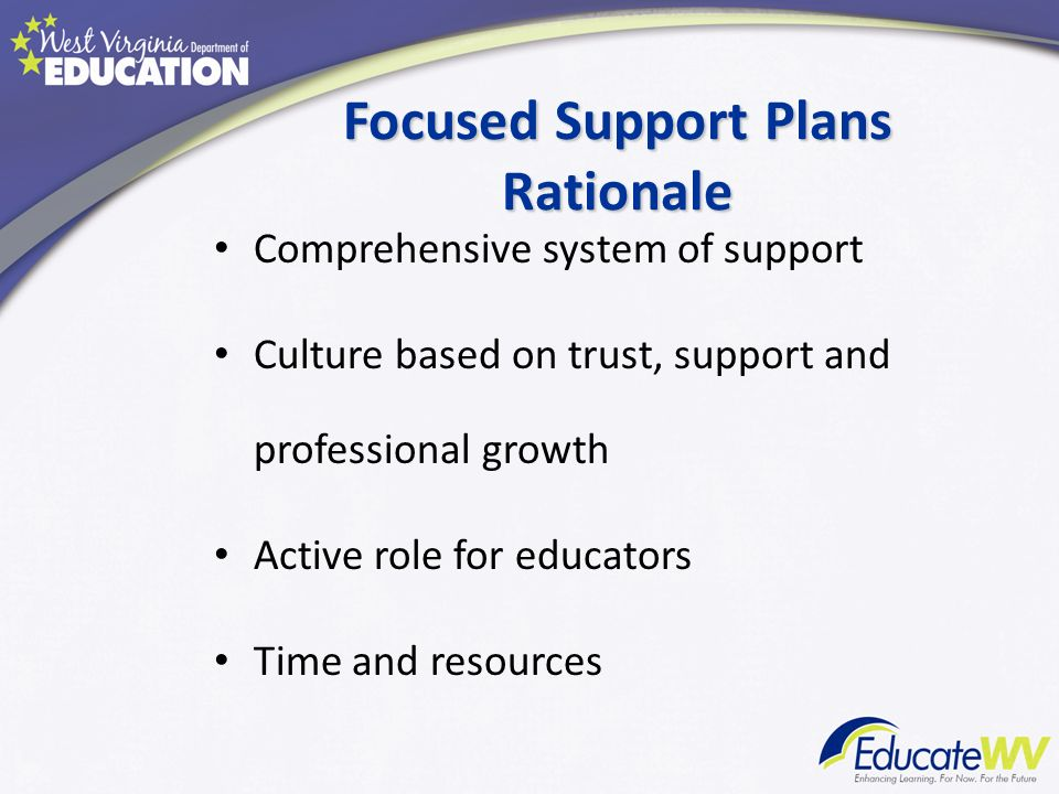 Focused Support Plans Rationale