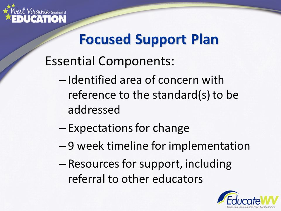 Focused Support Plan Essential Components: