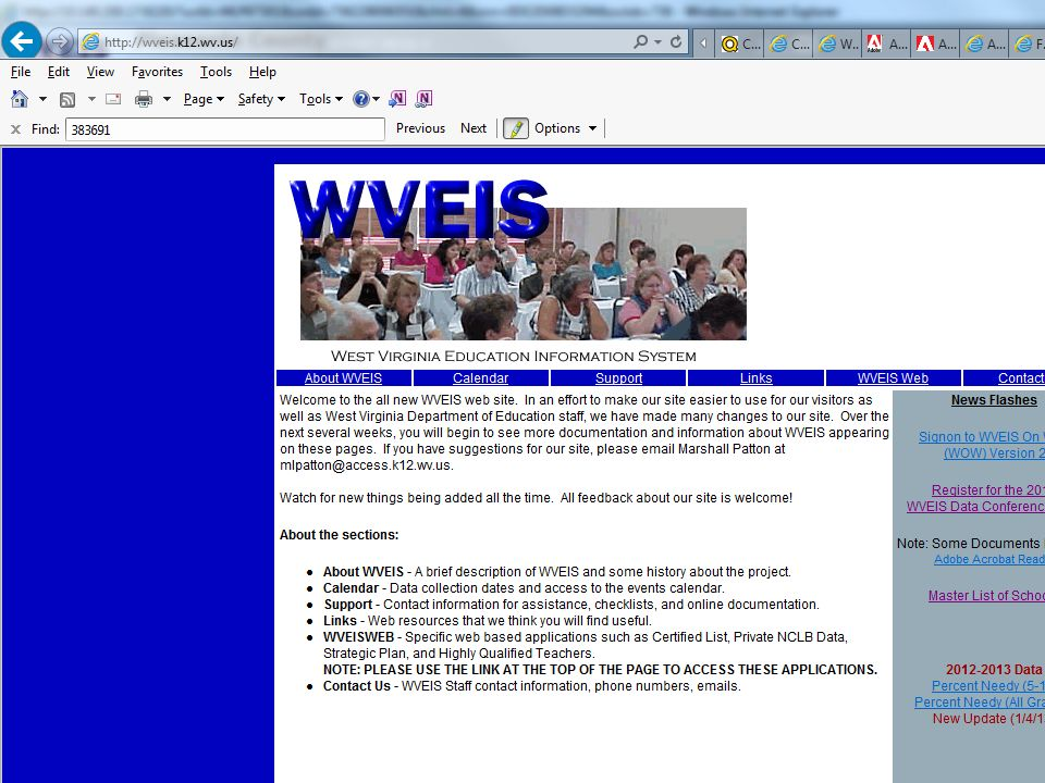 Go to screen http://WVEIS. k12. wv. us