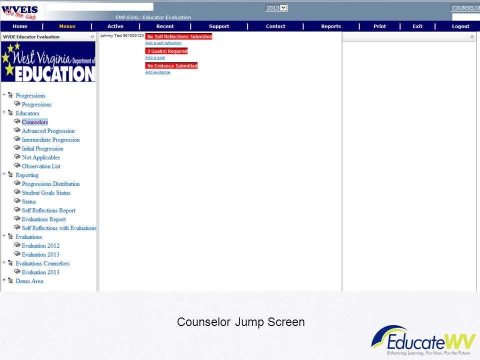 To complete self-reflection, counselor will click on Add self reflection. To add goals, counselor will click on Add a Goal. To add evidence, counselor will click on add evidence.