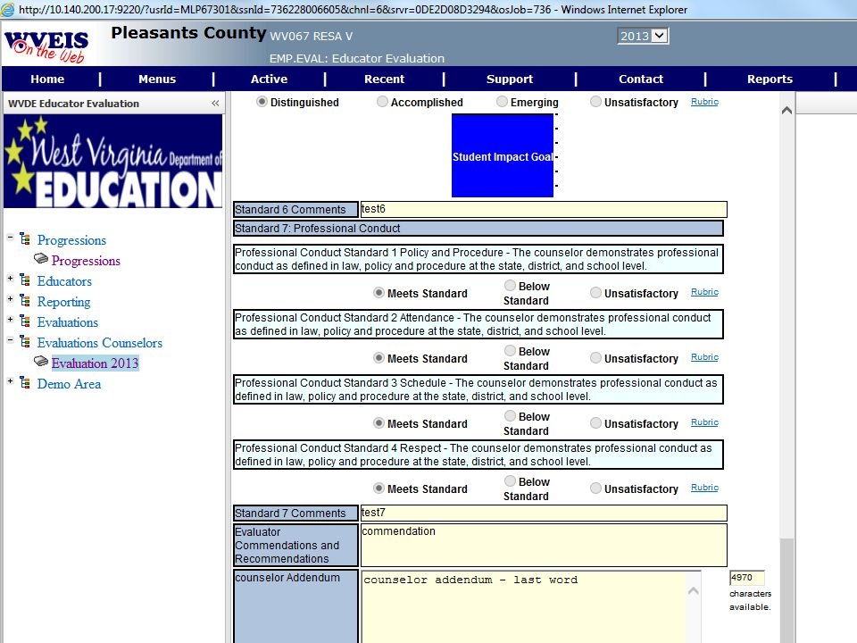 This screen allows the counselor to review the evaluation, provide an addendum and to accept the evaluation.