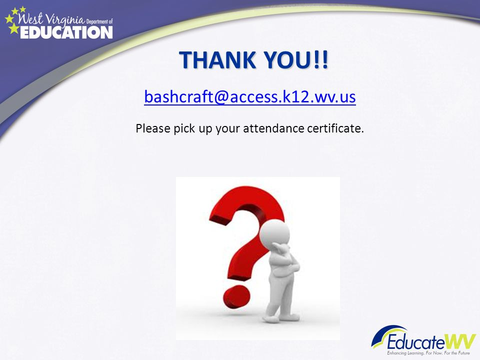 Please pick up your attendance certificate.