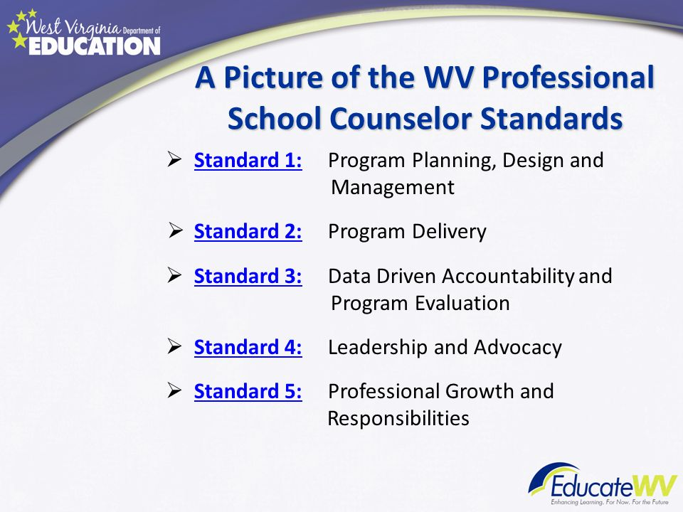 A Picture of the WV Professional School Counselor Standards