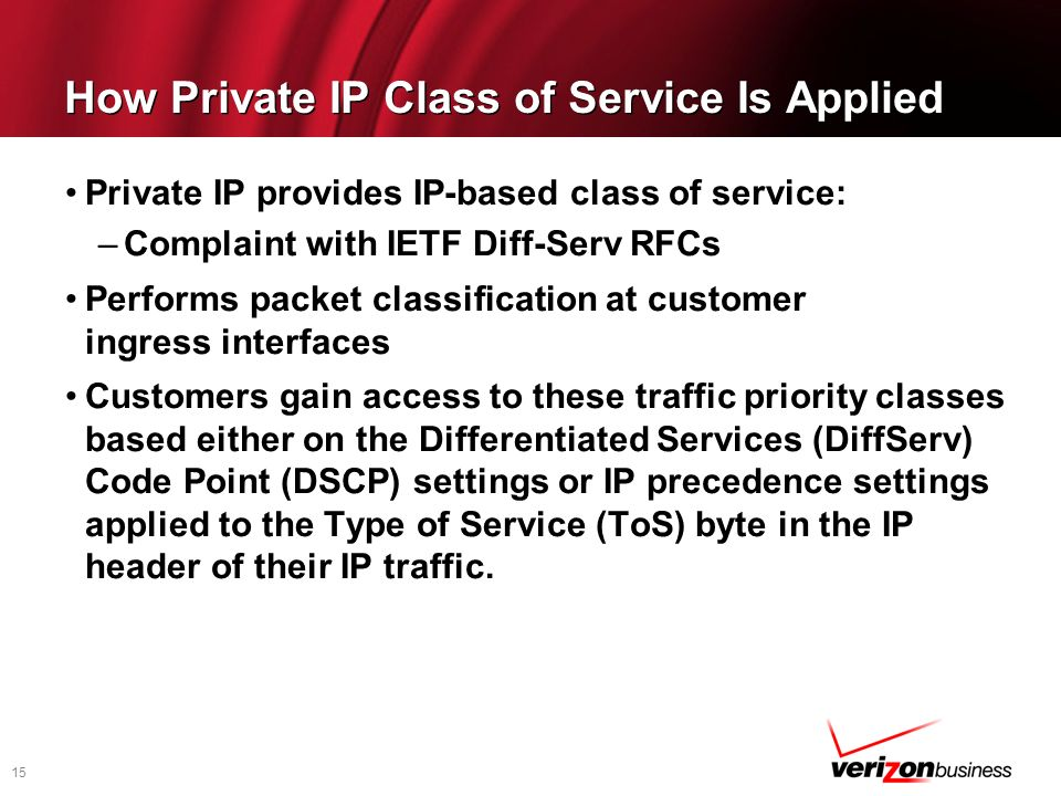 How Private IP Class of Service Is Applied