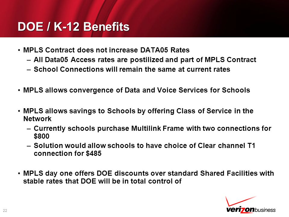 DOE / K-12 Benefits MPLS Contract does not increase DATA05 Rates