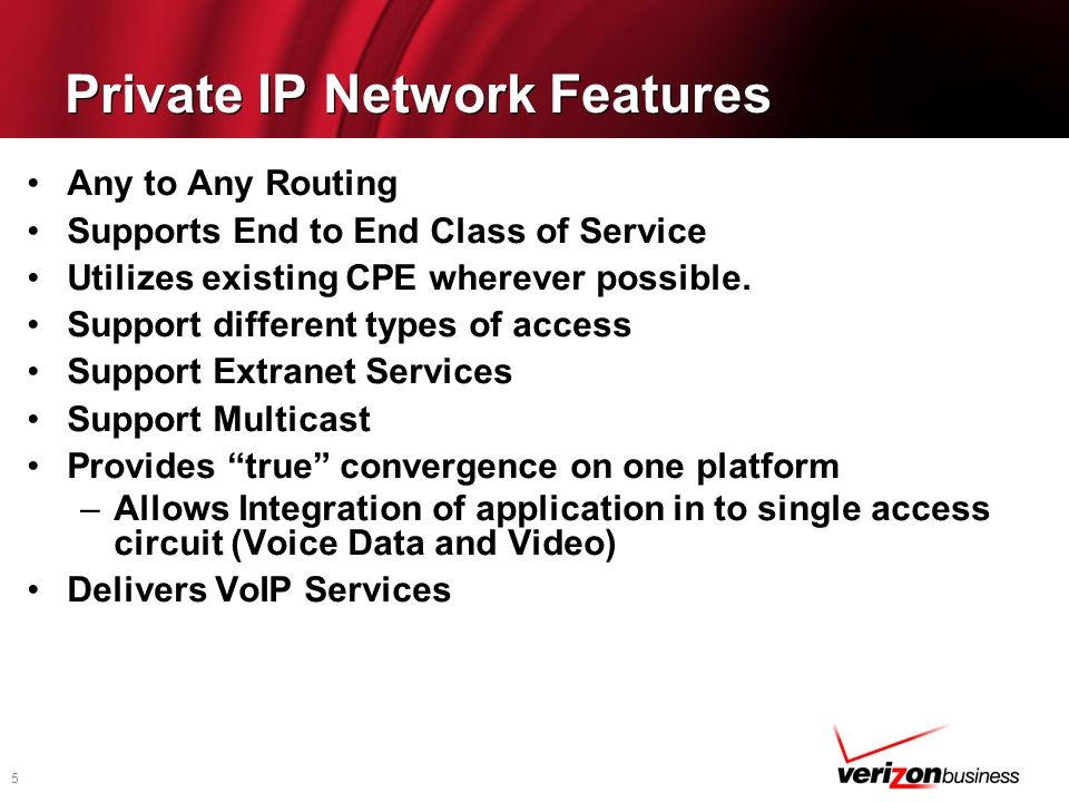 Private IP Network Features