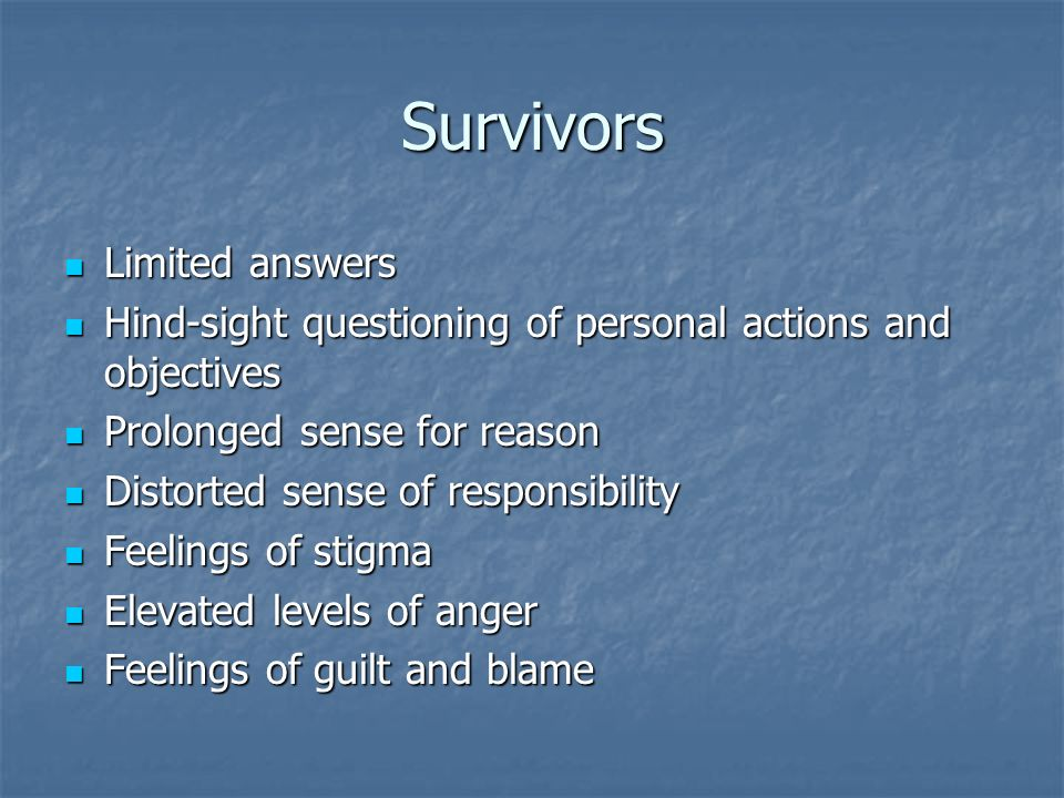 Survivors Limited answers