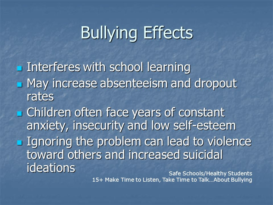 Bullying Effects Interferes with school learning