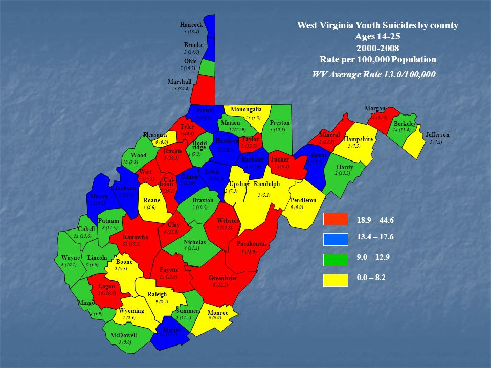 West Virginia Youth Suicides by county