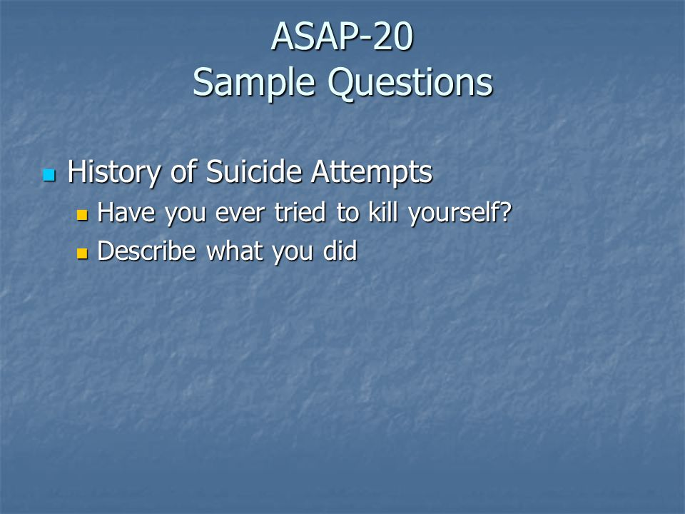 ASAP-20 Sample Questions