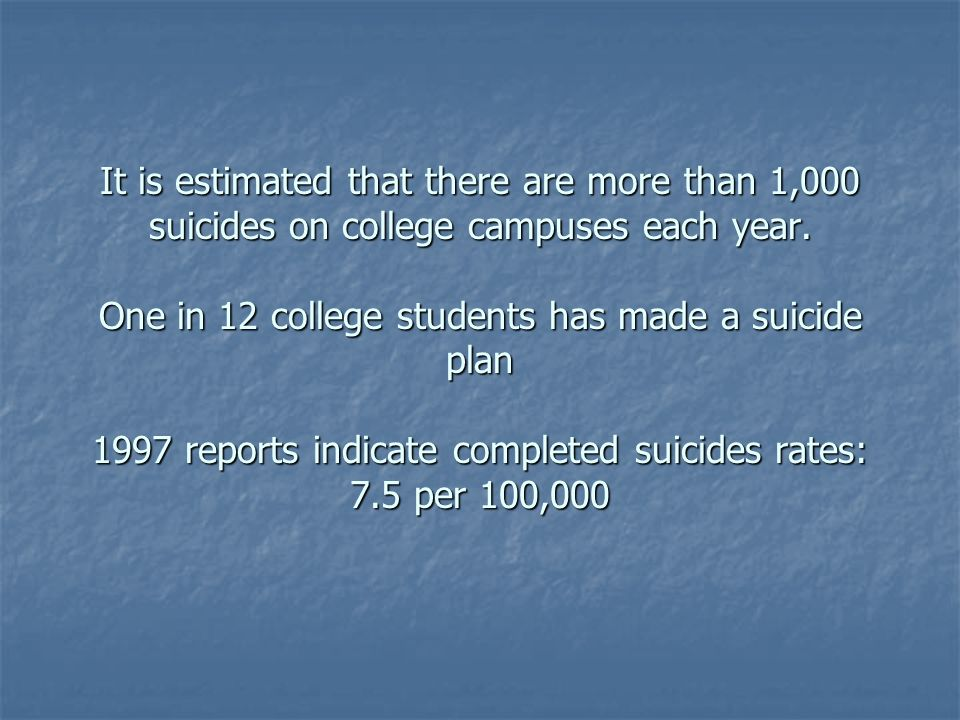 It is estimated that there are more than 1,000 suicides on college campuses each year. One in 12 college students has made a suicide plan 1997 reports indicate completed suicides rates: 7.5 per 100,000