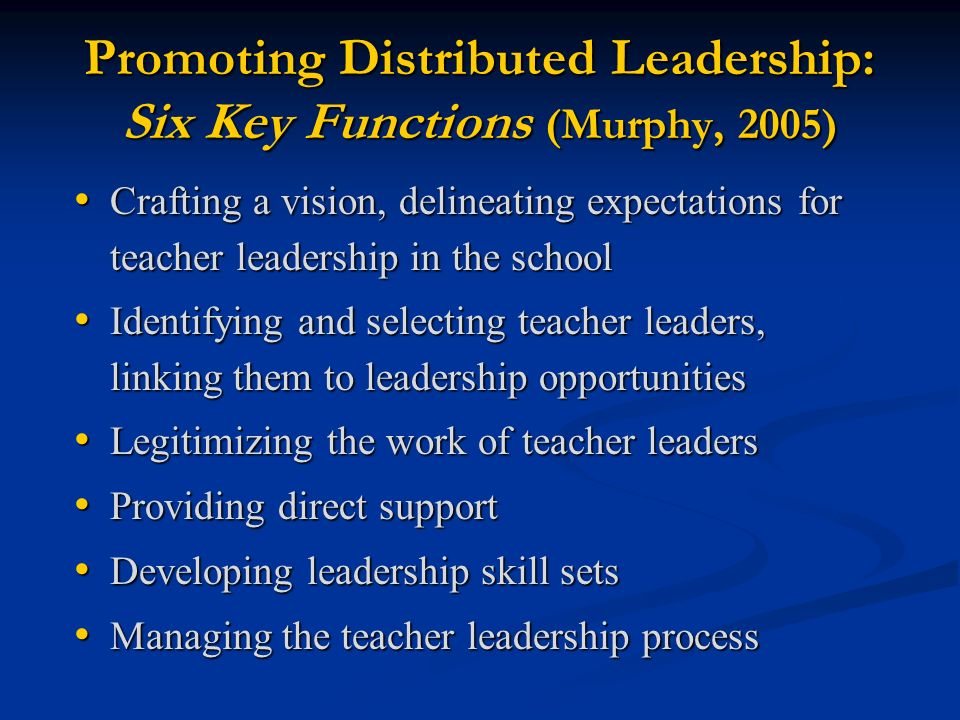 Promoting Distributed Leadership: Six Key Functions (Murphy, 2005)
